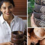 🥥 Esta joven Recicla Cáscaras de Coco Desechadas en Vajilla Ecológica